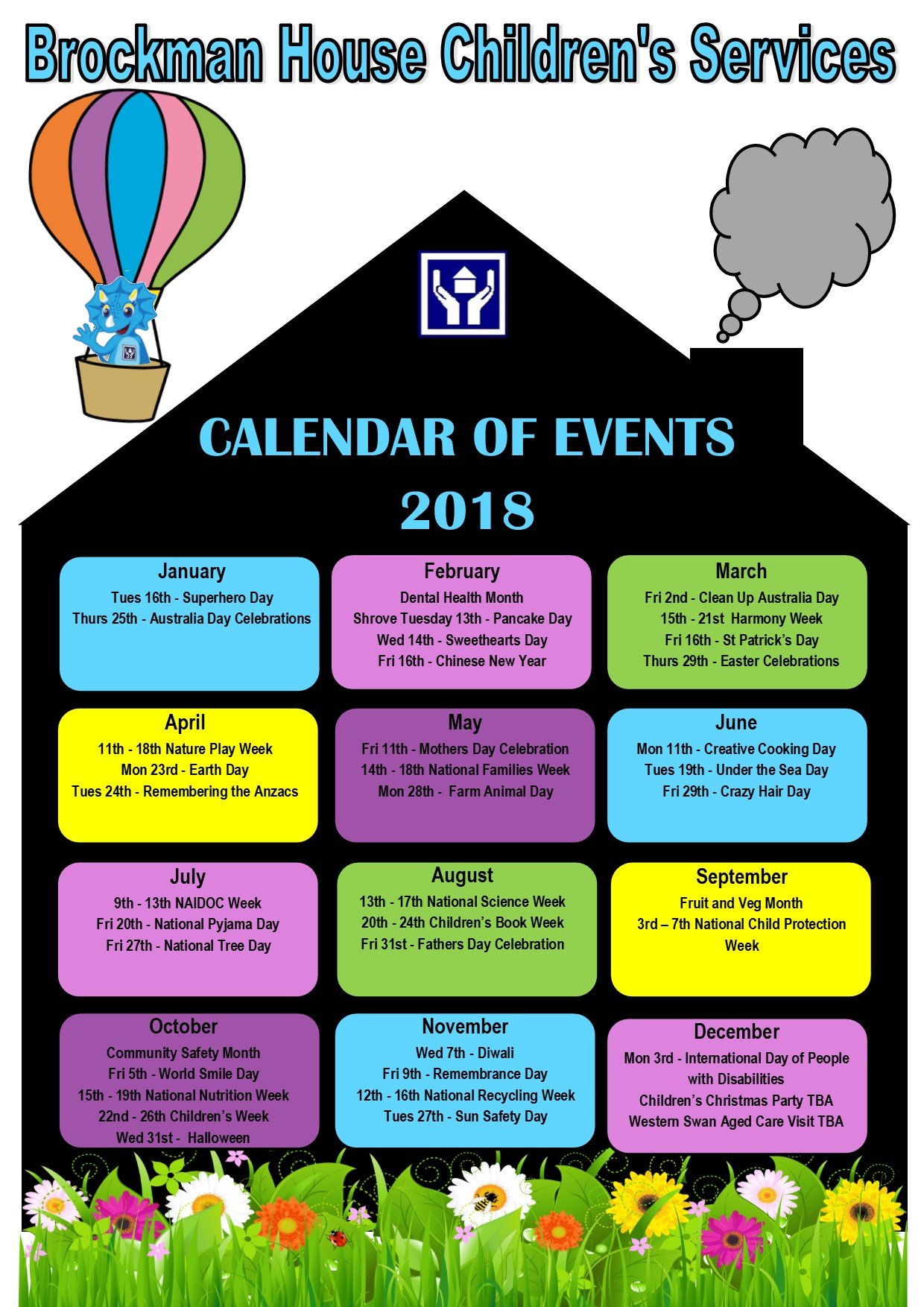 Calendar Of Events : Child care brockman community house